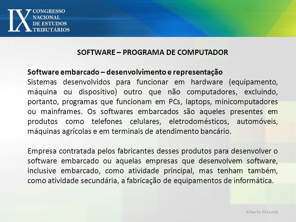 SOFTWARE – PROGRAMA DE COMPUTADOR Software embarcado – desenvolvimento e representação Sistemas desenvolvidos para funcionar em hardware (equipamento,