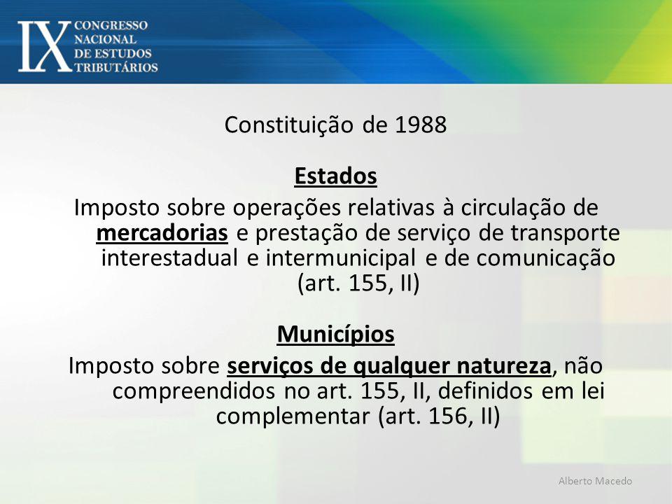 Constituição de 1988 Estados Imposto sobre operações relativas à circulação de mercadorias e prestação de serviço de transporte interestadual e interm