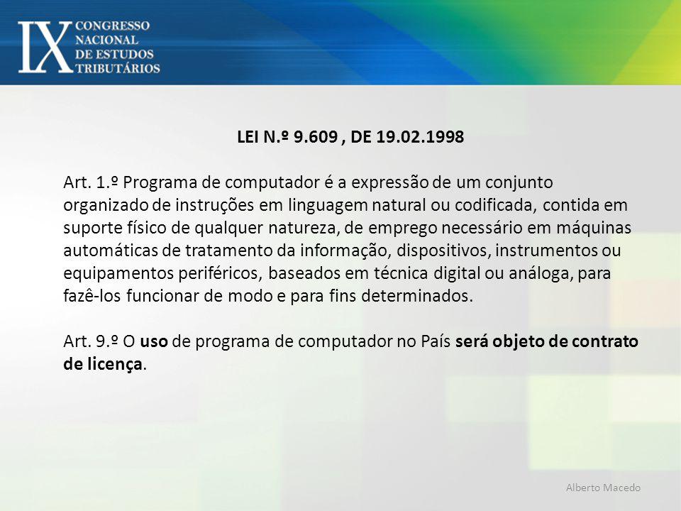 LEI N.º 9.609, DE 19.02.1998 Art. 1.º Programa de computador é a expressão de um conjunto organizado de instruções em linguagem natural ou codificada,