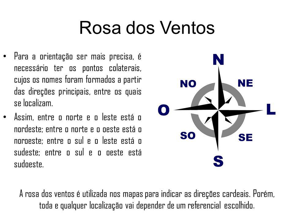 Rosa dos Ventos Para a orientação ser mais precisa, é necessário ter os pontos colaterais, cujos os nomes foram formados a partir das direções princip