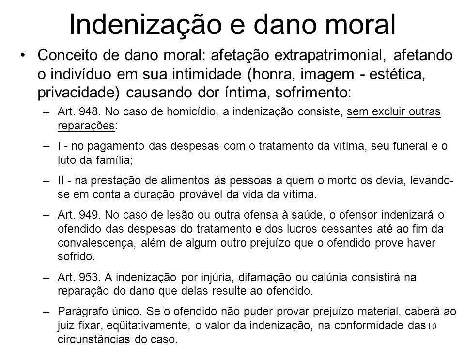 10 Indenização e dano moral Conceito de dano moral: afetação extrapatrimonial, afetando o indivíduo em sua intimidade (honra, imagem - estética, privacidade) causando dor íntima, sofrimento: –Art.