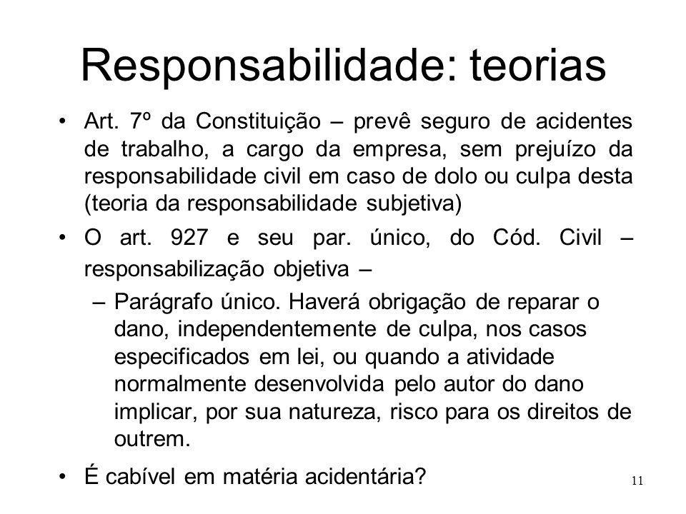 11 Responsabilidade: teorias Art. 7º da Constituição – prevê seguro de acidentes de trabalho, a cargo da empresa, sem prejuízo da responsabilidade civ