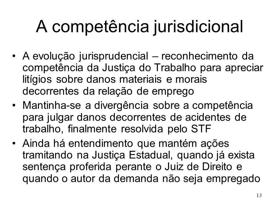 13 A competência jurisdicional A evolução jurisprudencial – reconhecimento da competência da Justiça do Trabalho para apreciar litígios sobre danos ma