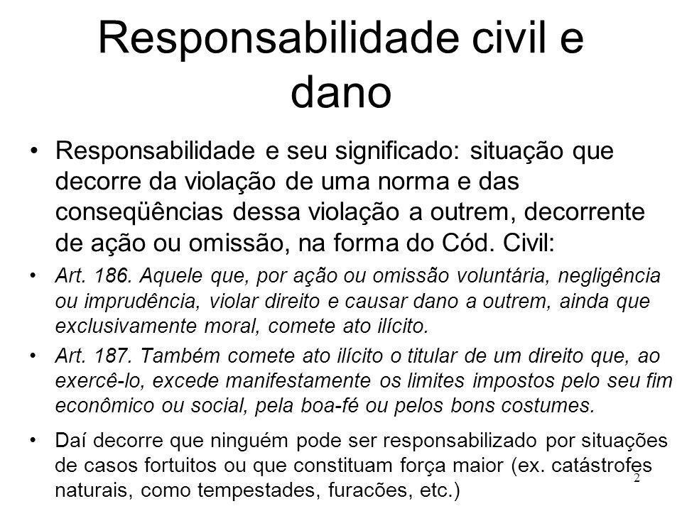 2 Responsabilidade civil e dano Responsabilidade e seu significado: situação que decorre da violação de uma norma e das conseqüências dessa violação a outrem, decorrente de ação ou omissão, na forma do Cód.