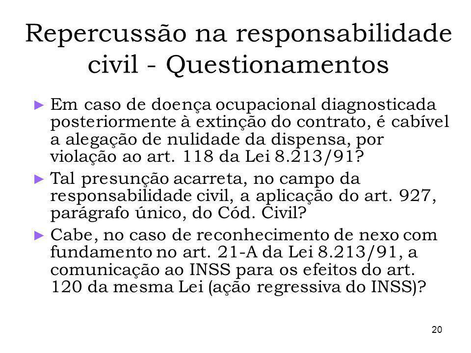 20 Repercussão na responsabilidade civil - Questionamentos Em caso de doença ocupacional diagnosticada posteriormente à extinção do contrato, é cabível a alegação de nulidade da dispensa, por violação ao art.