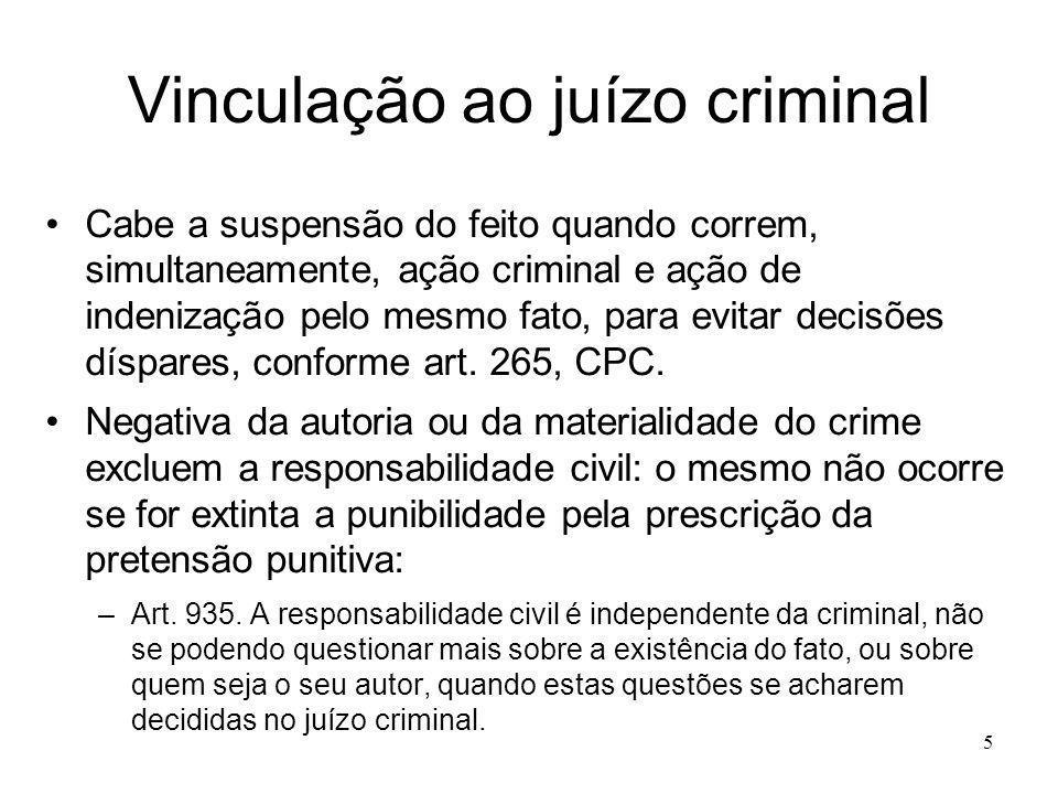 5 Vinculação ao juízo criminal Cabe a suspensão do feito quando correm, simultaneamente, ação criminal e ação de indenização pelo mesmo fato, para evi