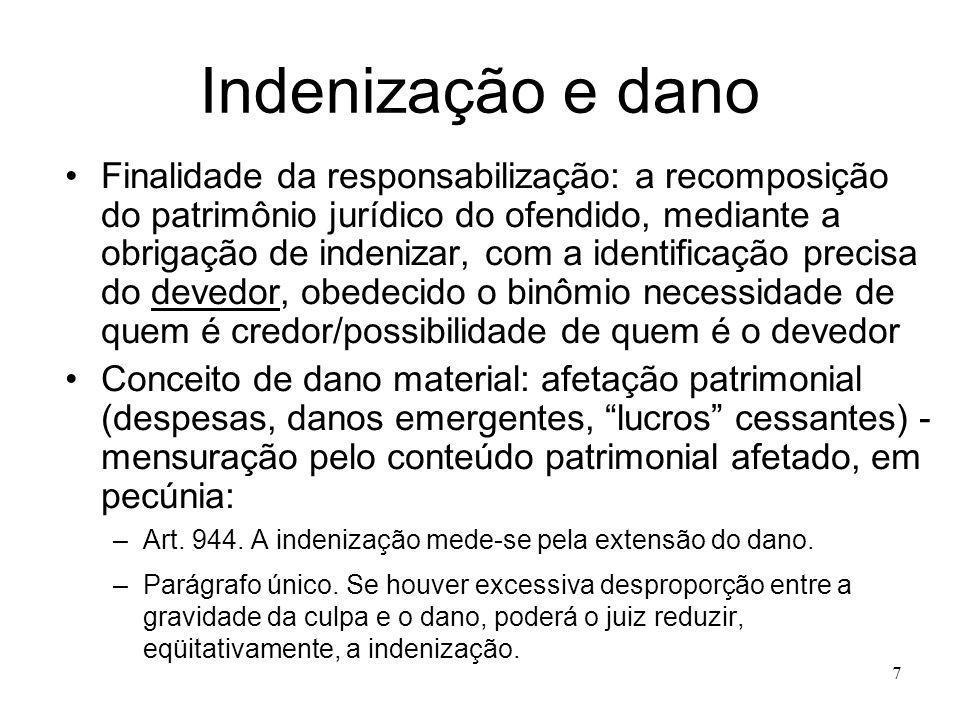 7 Indenização e dano Finalidade da responsabilização: a recomposição do patrimônio jurídico do ofendido, mediante a obrigação de indenizar, com a iden