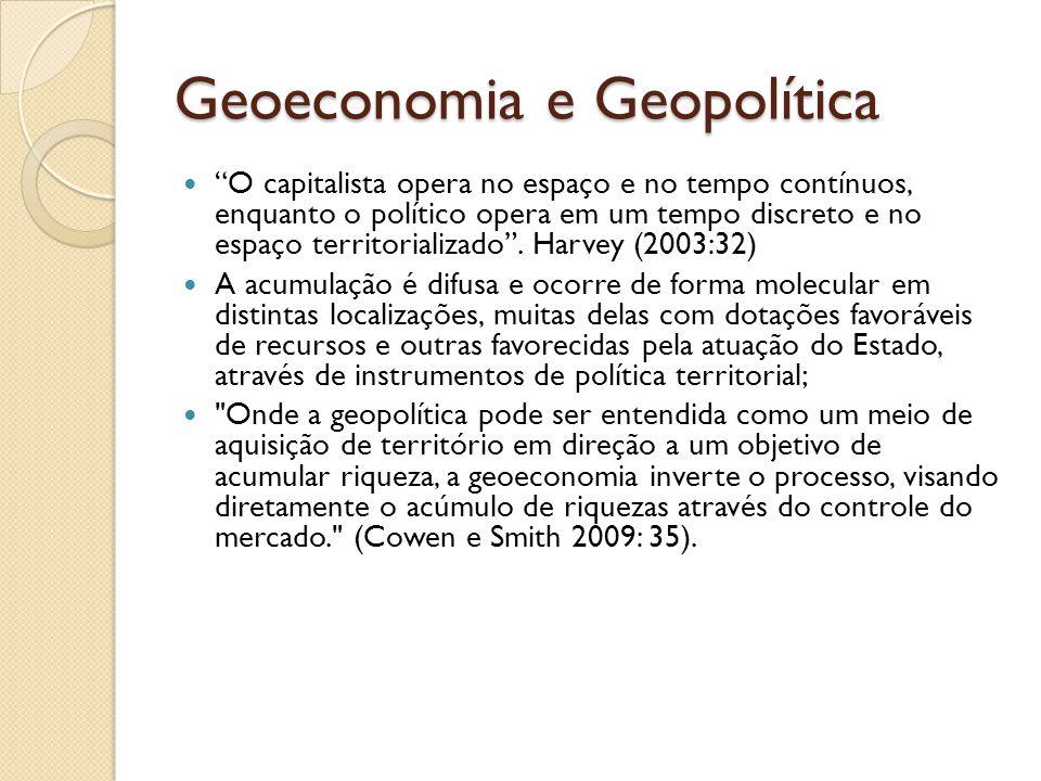 Geoeconomia e Geopolítica O capitalista opera no espaço e no tempo contínuos, enquanto o político opera em um tempo discreto e no espaço territorializ