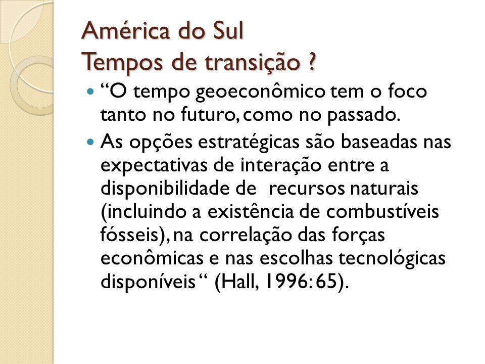 América do Sul Tempos de transição ? O tempo geoeconômico tem o foco tanto no futuro, como no passado. As opções estratégicas são baseadas nas expecta