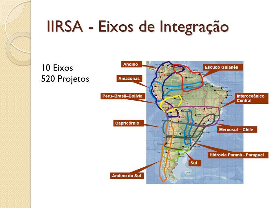 IIRSA - Eixos de Integração 10 Eixos 520 Projetos