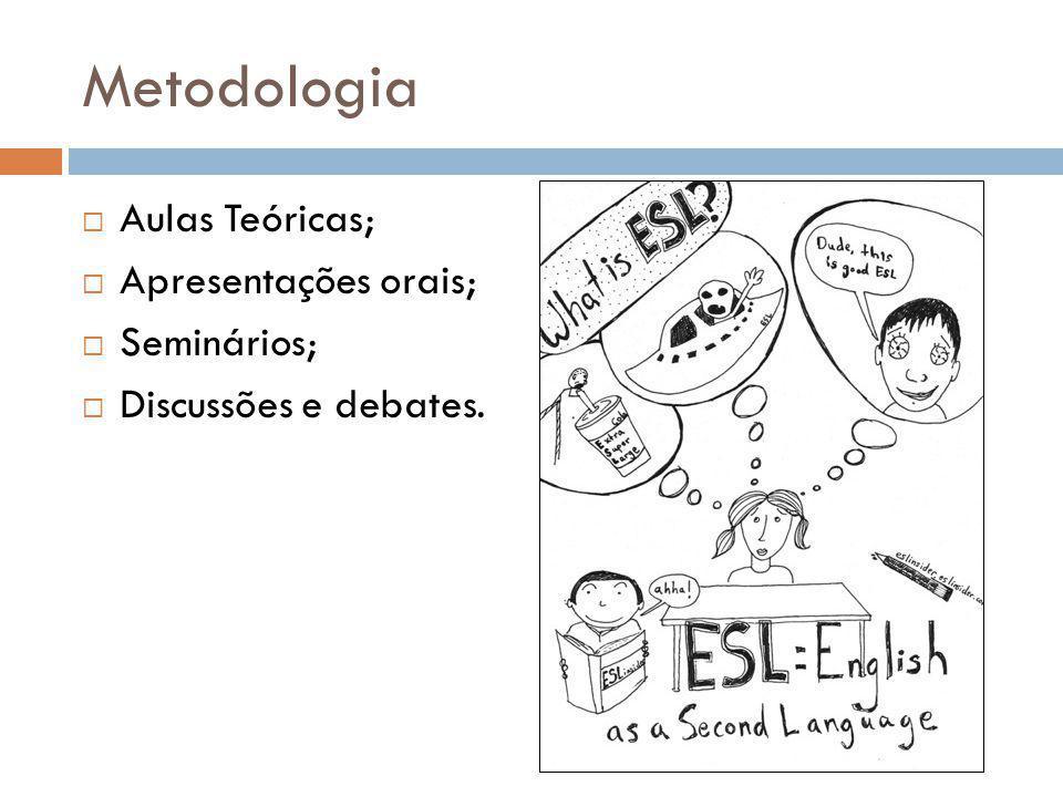 Metodologia Aulas Teóricas; Apresentações orais; Seminários; Discussões e debates.