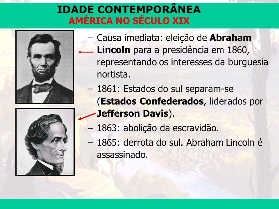 IDADE CONTEMPORÂNEA Prof. José Augusto Fiorin AMÉRICA NO SÉCULO XIX –Causa imediata: eleição de Abraham Lincoln para a presidência em 1860, representa