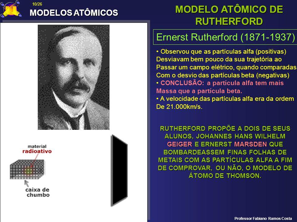 MODELOS ATÔMICOS MODELO ATÔMICO DE RUTHERFORD Ernerst Rutherford (1871-1937) Observou que as partículas alfa (positivas) Desviavam bem pouco da sua tr