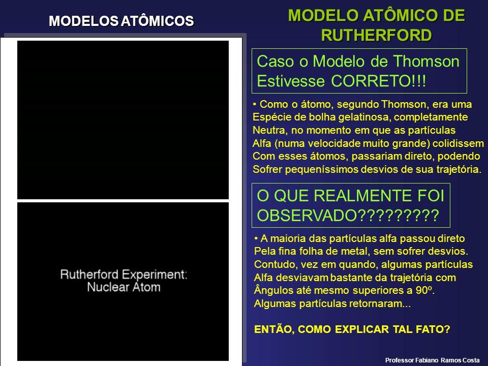 MODELOS ATÔMICOS MODELO ATÔMICO DE RUTHERFORD Caso o Modelo de Thomson Estivesse CORRETO!!! Como o átomo, segundo Thomson, era uma Espécie de bolha ge