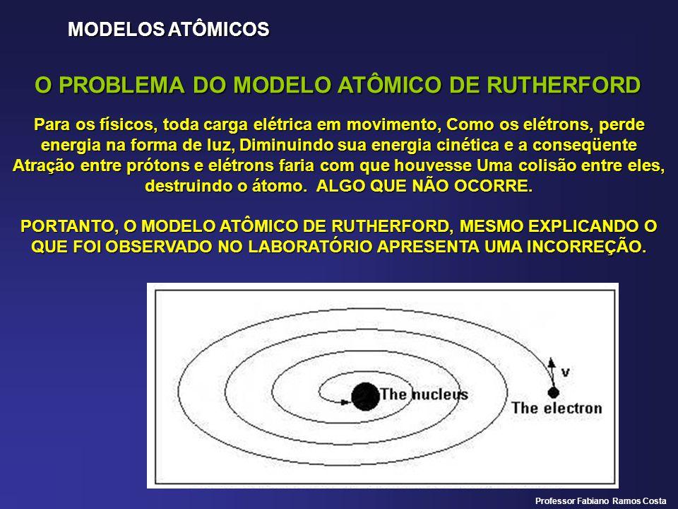MODELOS ATÔMICOS O PROBLEMA DO MODELO ATÔMICO DE RUTHERFORD Para os físicos, toda carga elétrica em movimento, Como os elétrons, perde energia na forma de luz, Diminuindo sua energia cinética e a conseqüente Atração entre prótons e elétrons faria com que houvesse Uma colisão entre eles, destruindo o átomo.