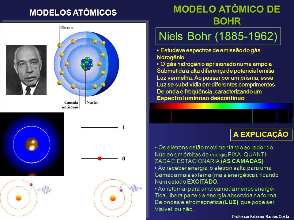 MODELOS ATÔMICOS MODELO ATÔMICO DE BOHR Niels Bohr (1885-1962) Estudava espectros de emissão do gás hidrogênio. O gás hidrogênio aprisionado numa ampo
