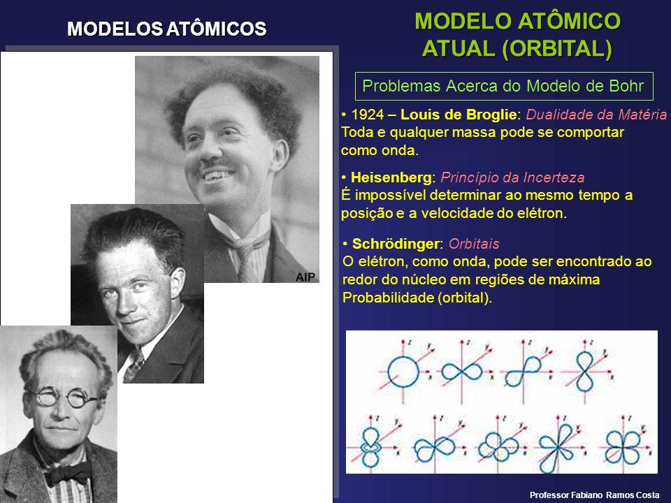 MODELOS ATÔMICOS MODELO ATÔMICO ATUAL (ORBITAL) Problemas Acerca do Modelo de Bohr 1924 – Louis de Broglie: Dualidade da Matéria Toda e qualquer massa
