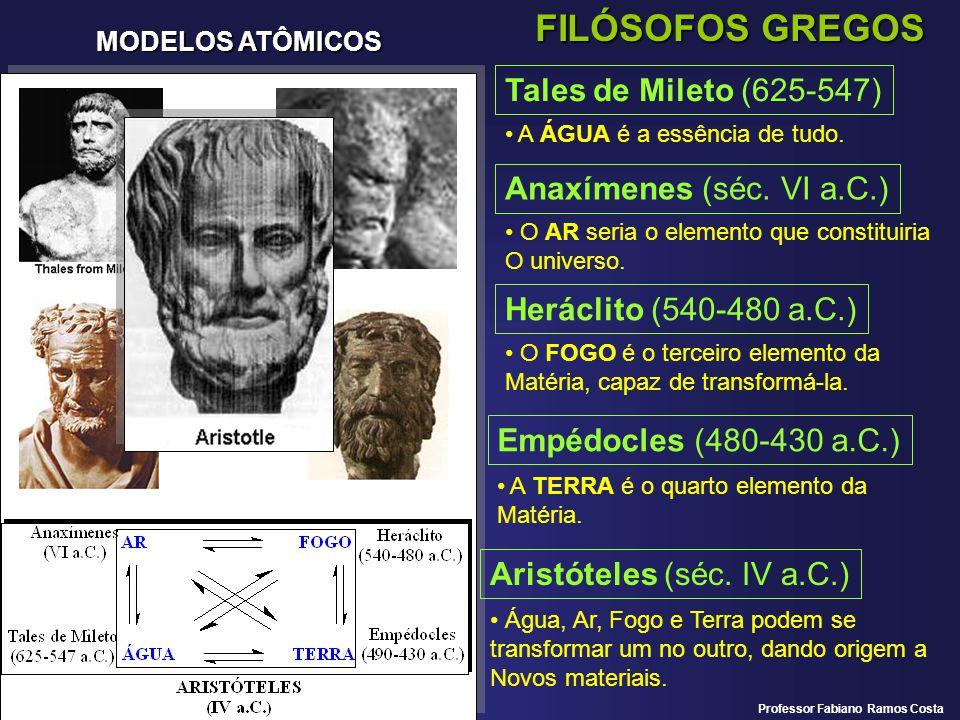 MODELOS ATÔMICOS FILÓSOFOS GREGOS Tales de Mileto (625-547) A ÁGUA é a essência de tudo. Anaxímenes (séc. VI a.C.) O AR seria o elemento que constitui