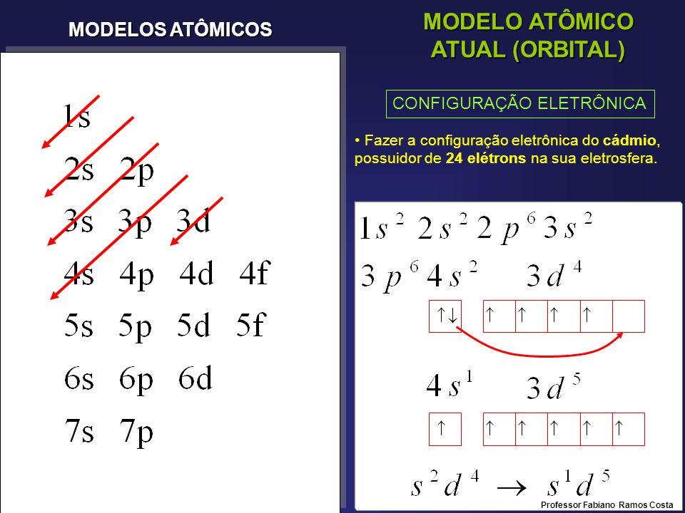 MODELOS ATÔMICOS MODELO ATÔMICO ATUAL (ORBITAL) CONFIGURAÇÃO ELETRÔNICA Fazer a configuração eletrônica do cádmio, possuidor de 24 elétrons na sua eletrosfera.
