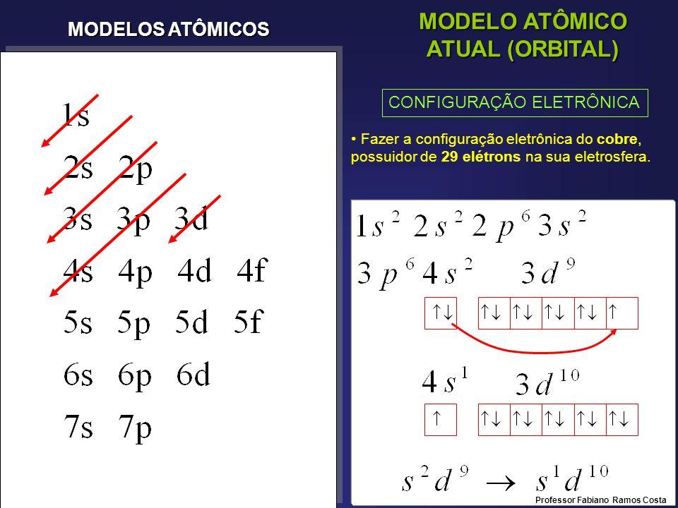 MODELOS ATÔMICOS MODELO ATÔMICO ATUAL (ORBITAL) CONFIGURAÇÃO ELETRÔNICA Fazer a configuração eletrônica do cobre, possuidor de 29 elétrons na sua eletrosfera.