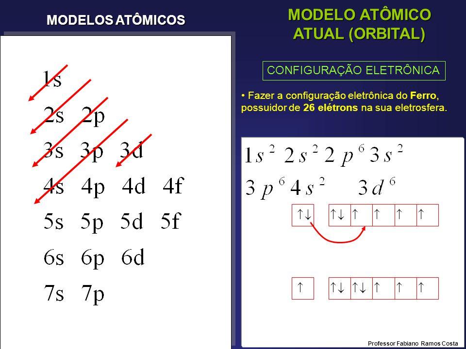 MODELOS ATÔMICOS MODELO ATÔMICO ATUAL (ORBITAL) CONFIGURAÇÃO ELETRÔNICA Fazer a configuração eletrônica do Ferro, possuidor de 26 elétrons na sua eletrosfera.