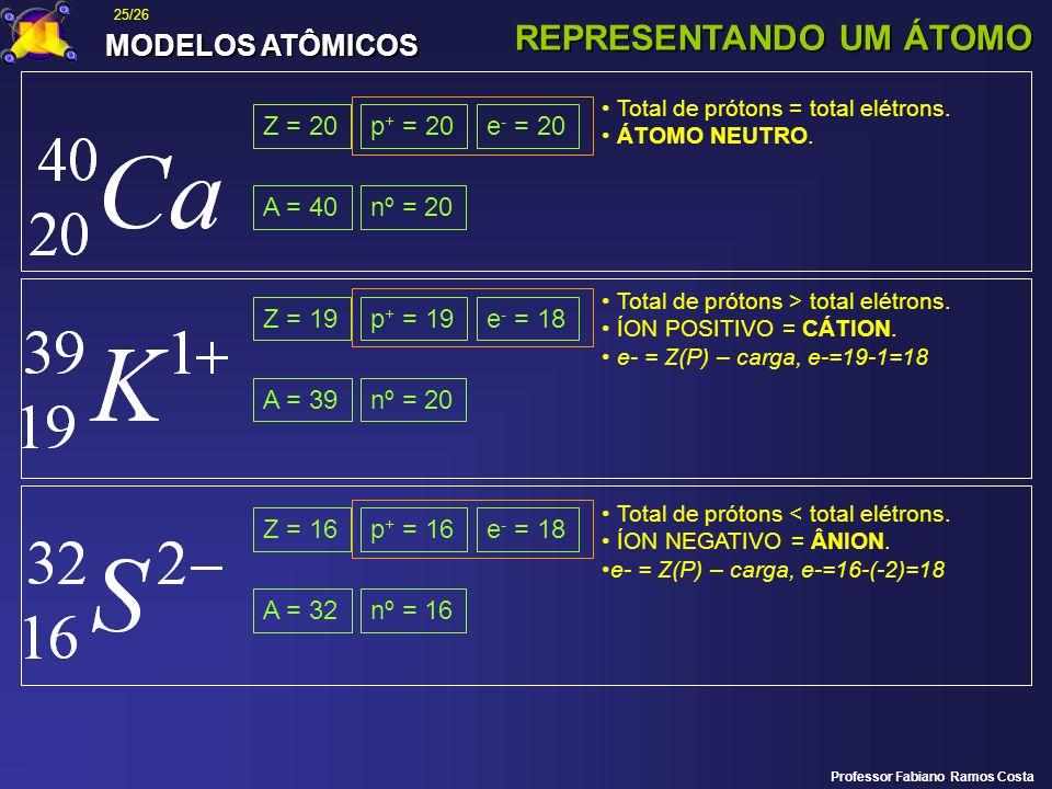 MODELOS ATÔMICOS REPRESENTANDO UM ÁTOMO Z = 20 A = 40nº = 20 p + = 20e - = 20 Total de prótons = total elétrons. ÁTOMO NEUTRO. Z = 19 A = 39nº = 20 p