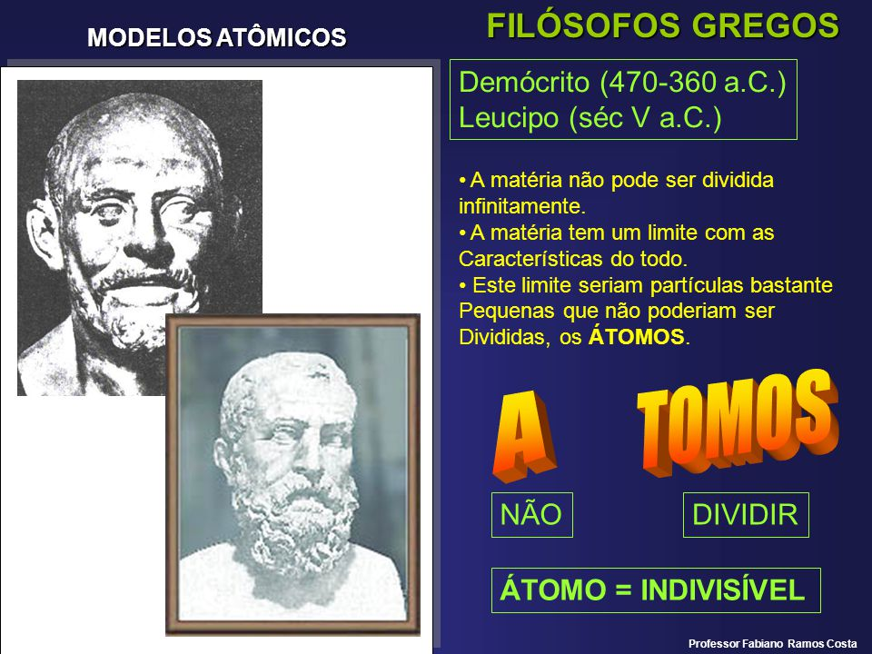 MODELOS ATÔMICOS FILÓSOFOS GREGOS Demócrito (470-360 a.C.) Leucipo (séc V a.C.) A matéria não pode ser dividida infinitamente. A matéria tem um limite