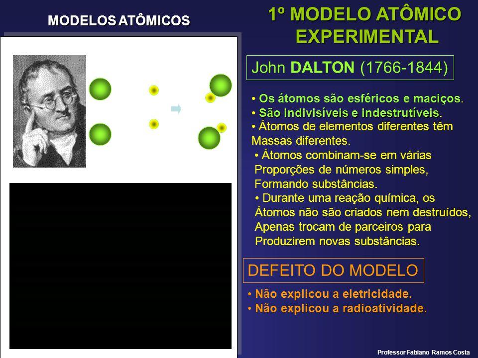 MODELOS ATÔMICOS 1º MODELO ATÔMICO EXPERIMENTAL John DALTON (1766-1844) Os átomos são esféricos e maciços. São indivisíveis e indestrutíveis indestrut