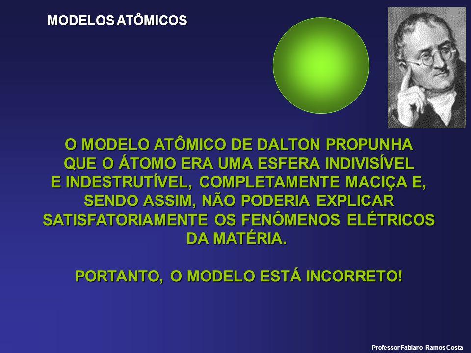 MODELOS ATÔMICOS O MODELO ATÔMICO DE DALTON PROPUNHA QUE O ÁTOMO ERA UMA ESFERA INDIVISÍVEL E INDESTRUTÍVEL, COMPLETAMENTE MACIÇA E, SENDO ASSIM, NÃO PODERIA EXPLICAR SATISFATORIAMENTE OS FENÔMENOS ELÉTRICOS DA MATÉRIA.