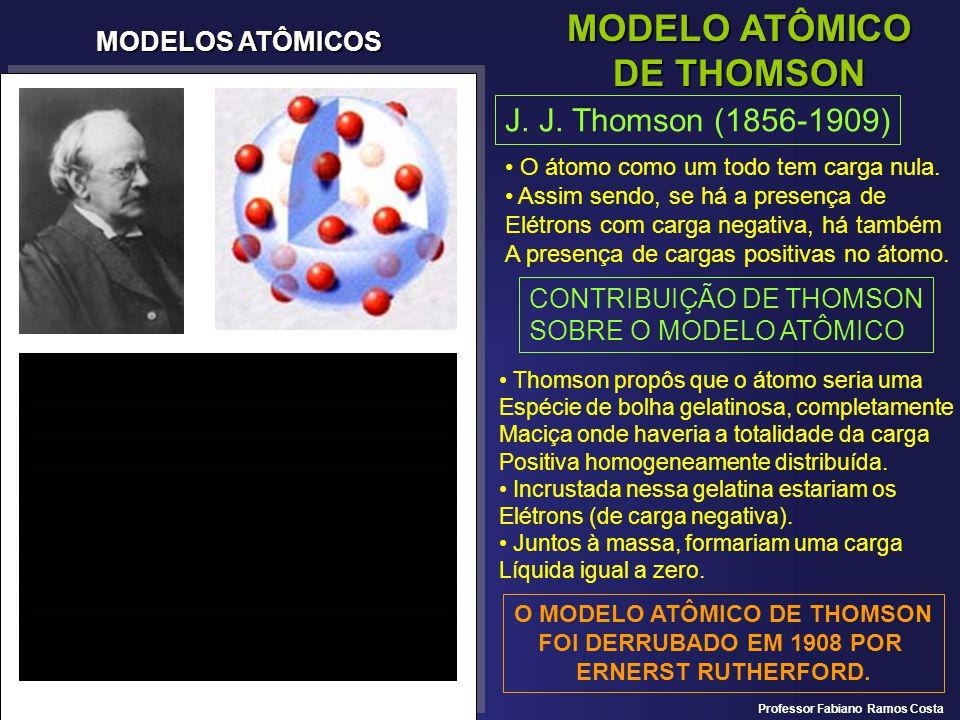 MODELOS ATÔMICOS MODELO ATÔMICO DE THOMSON J. J. Thomson (1856-1909) O átomo como um todo tem carga nula. Assim sendo, se há a presença de Elétrons co