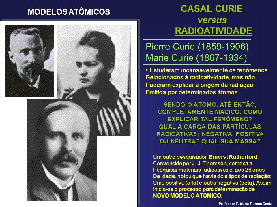 MODELOS ATÔMICOS MODELO ATÔMICO DE RUTHERFORD Ernerst Rutherford (1871-1937) Observou que as partículas alfa (positivas) Desviavam bem pouco da sua trajetória ao Passar um campo elétrico, quando comparadas Com o desvio das partículas beta (negativas) CONCLUSÃO: a partícula alfa tem mais Massa que a partícula beta.