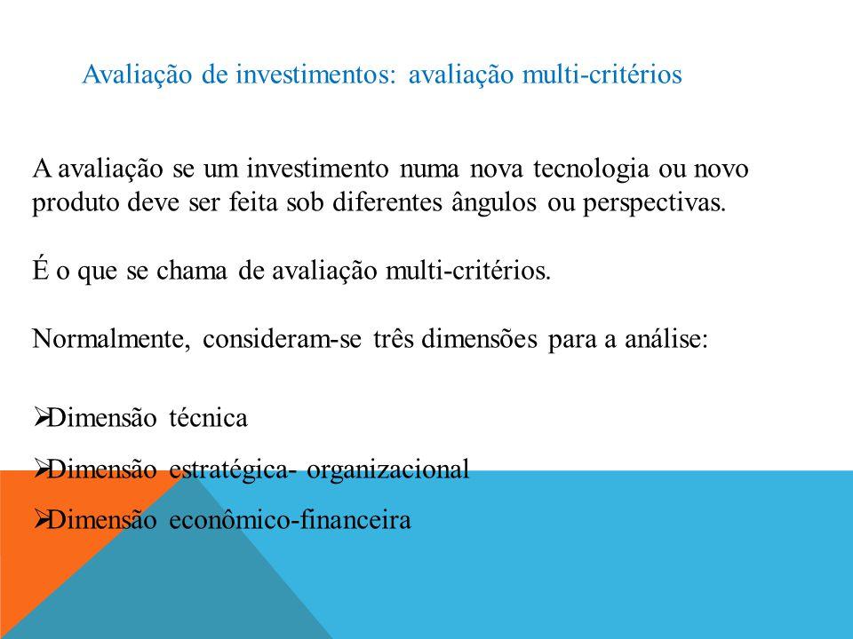 Avaliação de investimentos: avaliação multi-critérios A avaliação se um investimento numa nova tecnologia ou novo produto deve ser feita sob diferentes ângulos ou perspectivas.