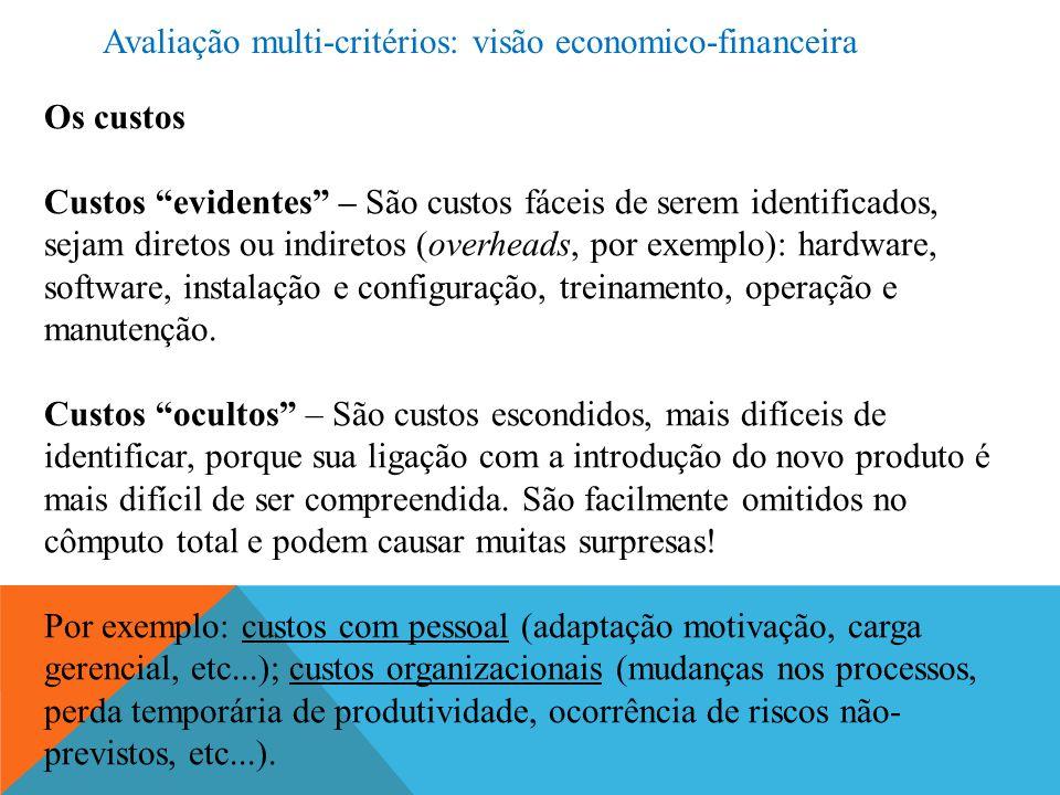 Os benefícios (econômico-financeiros) É sempre mais complicado estimar, de antemão, qual o valor do benefício que um novo produto ou tecnologia (especialmente) de TICs pode trazer para a organização.