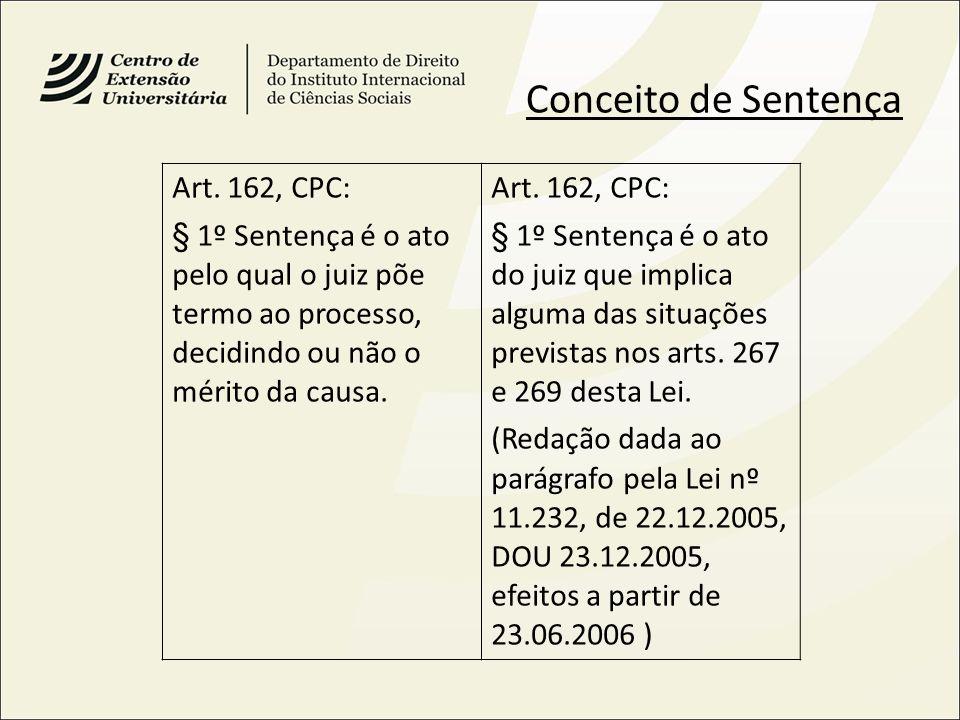 Conceito de Sentença Art. 162, CPC: § 1º Sentença é o ato pelo qual o juiz põe termo ao processo, decidindo ou não o mérito da causa. Art. 162, CPC: §