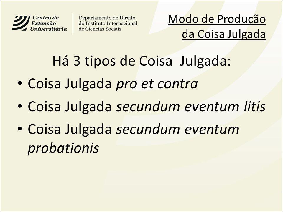 Modo de Produção da Coisa Julgada Há 3 tipos de Coisa Julgada: Coisa Julgada pro et contra Coisa Julgada secundum eventum litis Coisa Julgada secundum