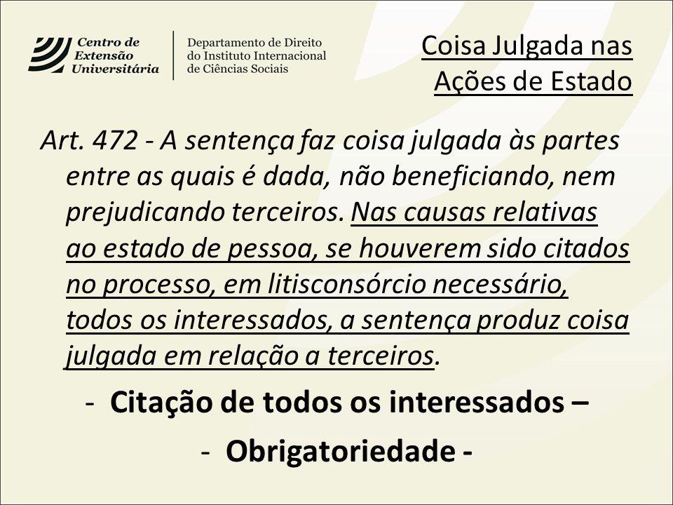 Coisa Julgada nas Ações de Estado Art. 472 - A sentença faz coisa julgada às partes entre as quais é dada, não beneficiando, nem prejudicando terceiro
