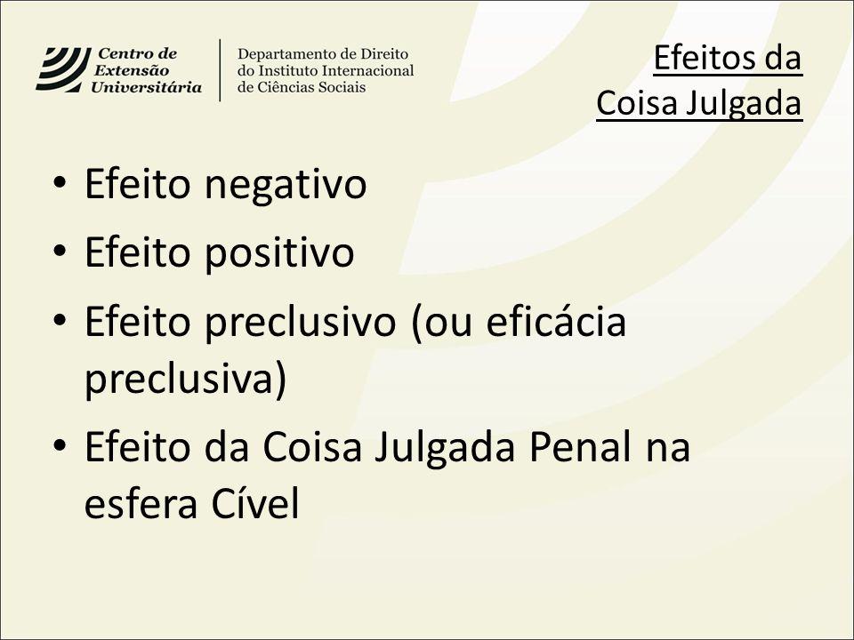 Efeitos da Coisa Julgada Efeito negativo Efeito positivo Efeito preclusivo (ou eficácia preclusiva) Efeito da Coisa Julgada Penal na esfera Cível