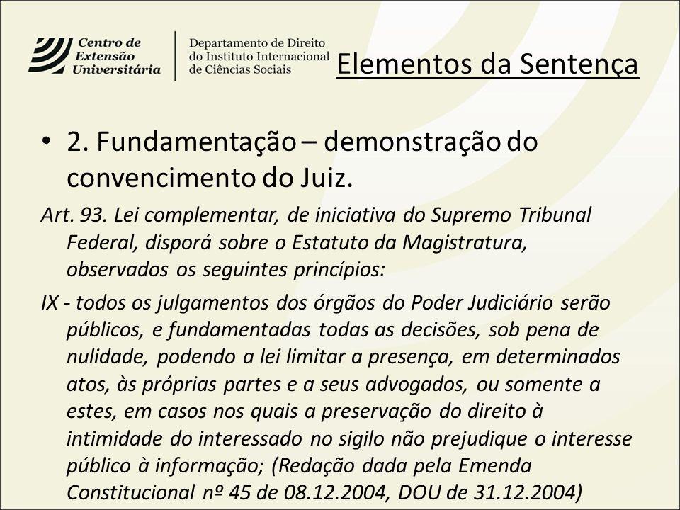 Elementos da Sentença 2. Fundamentação – demonstração do convencimento do Juiz. Art. 93. Lei complementar, de iniciativa do Supremo Tribunal Federal,