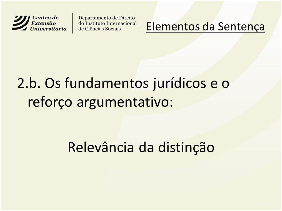 Elementos da Sentença 2.b. Os fundamentos jurídicos e o reforço argumentativo: Relevância da distinção