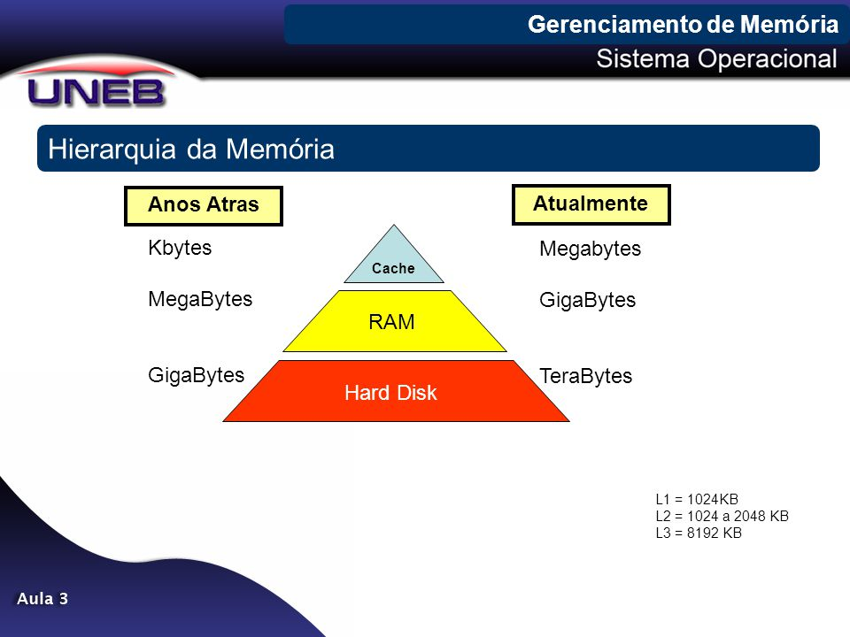 Cache RAM Hard Disk Hierarquia da Memória Kbytes MegaBytes GigaBytes Megabytes GigaBytes TeraBytes Anos Atras Atualmente L1 = 1024KB L2 = 1024 a 2048