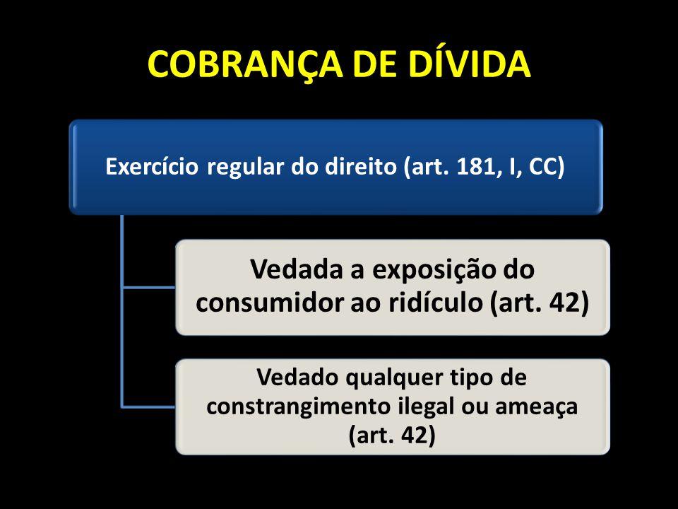 COBRANÇA DE DÍVIDA Exercício regular do direito (art. 181, I, CC) Vedada a exposição do consumidor ao ridículo (art. 42) Vedado qualquer tipo de const
