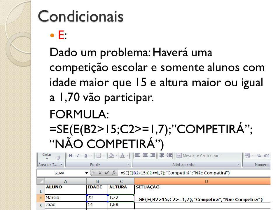 Condicionais E: Dado um problema: Haverá uma competição escolar e somente alunos com idade maior que 15 e altura maior ou igual a 1,70 vão participar.