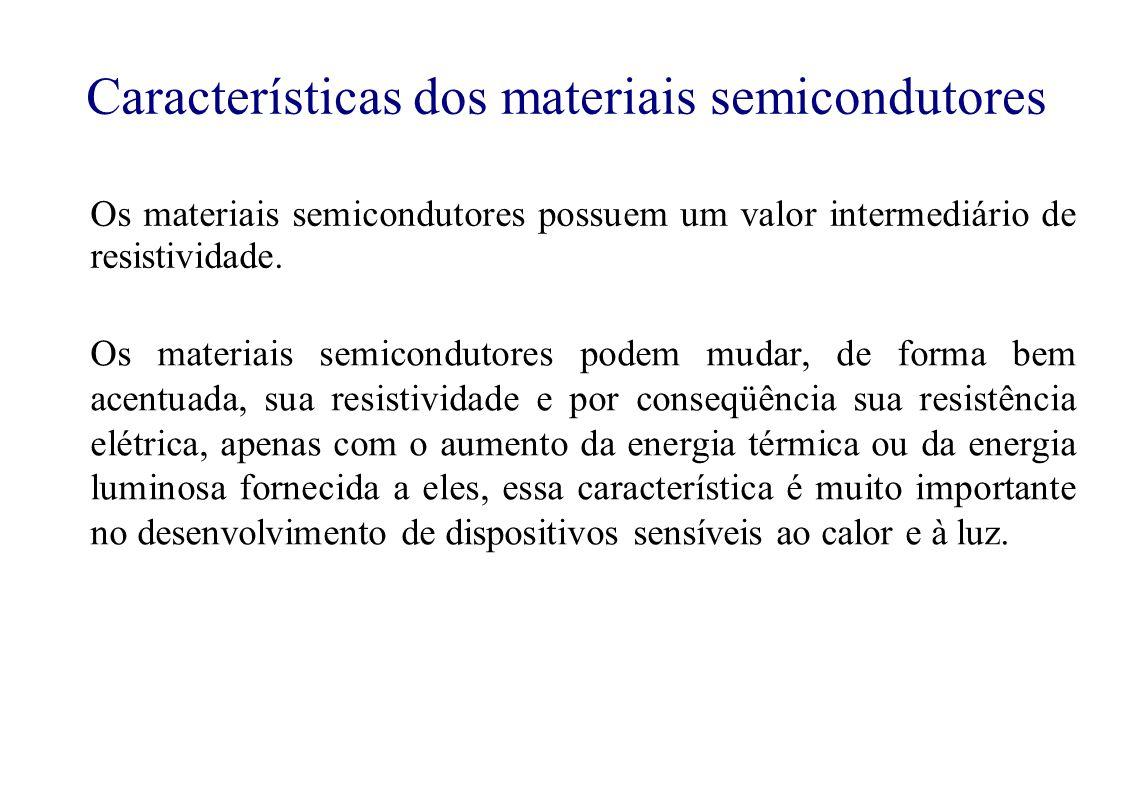 Os materiais semicondutores possuem um valor intermediário de resistividade.