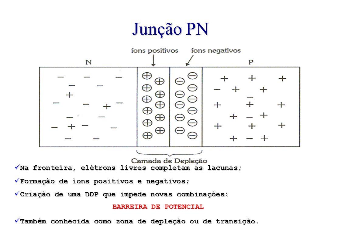 Na fronteira, elétrons livres completam as lacunas; Formação de íons positivos e negativos; Criação de uma DDP que impede novas combinações: BARREIRA DE POTENCIAL Também conhecida como zona de depleção ou de transição.