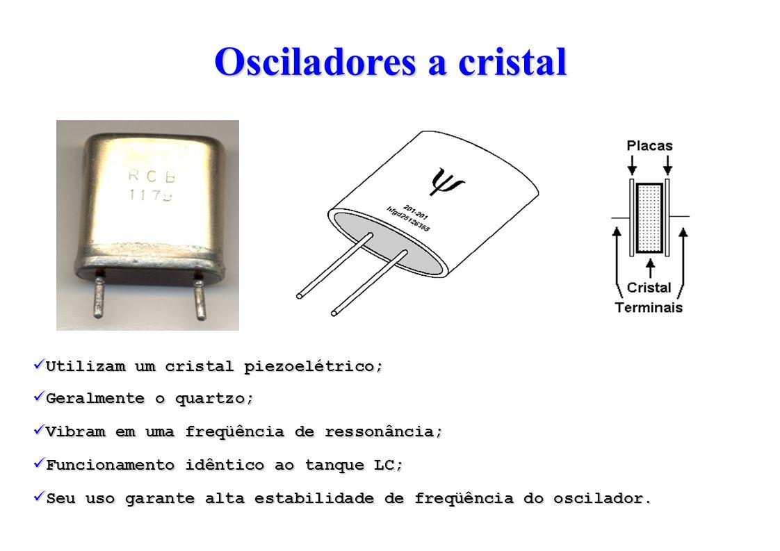 Osciladores a cristal Utilizam um cristal piezoelétrico; Geralmente o quartzo; Vibram em uma freqüência de ressonância; Funcionamento idêntico ao tanque LC; Seu uso garante alta estabilidade de freqüência do oscilador.