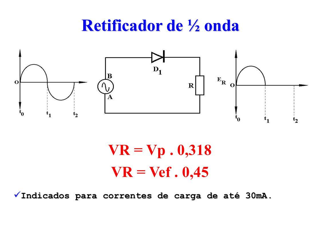 Retificador de ½ onda VR = Vp. 0,318 VR = Vef. 0,45 Indicados para correntes de carga de até 30mA.
