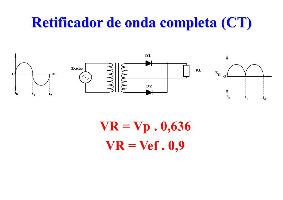 Retificador de onda completa (CT) VR = Vp. 0,636 VR = Vef. 0,9
