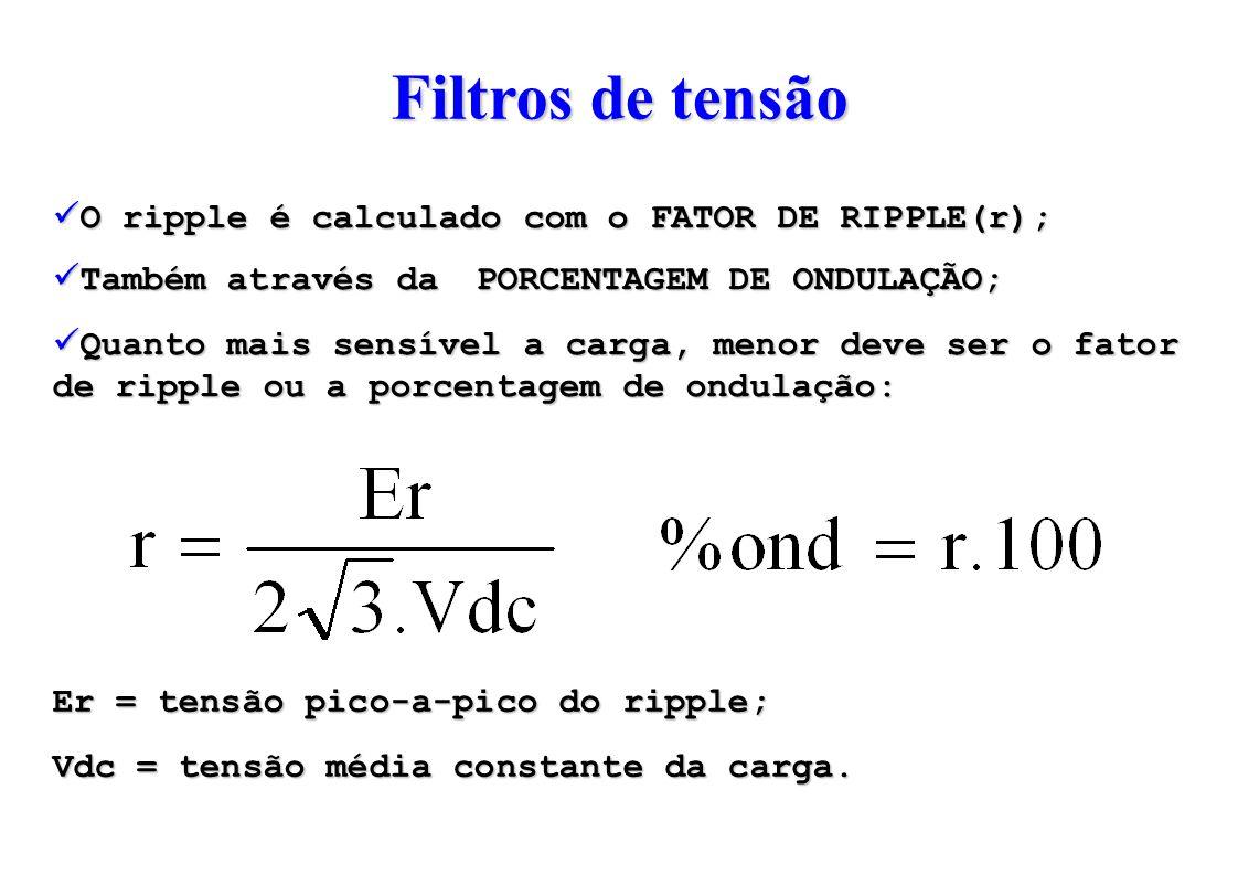 O ripple é calculado com o FATOR DE RIPPLE(r); Também através daPORCENTAGEM DE ONDULAÇÃO; Quanto mais sensível a carga, menor deve ser o fator de ripple ou a porcentagem de ondulação: Er = tensão pico-a-pico do ripple; Vdc = tensão média constante da carga.