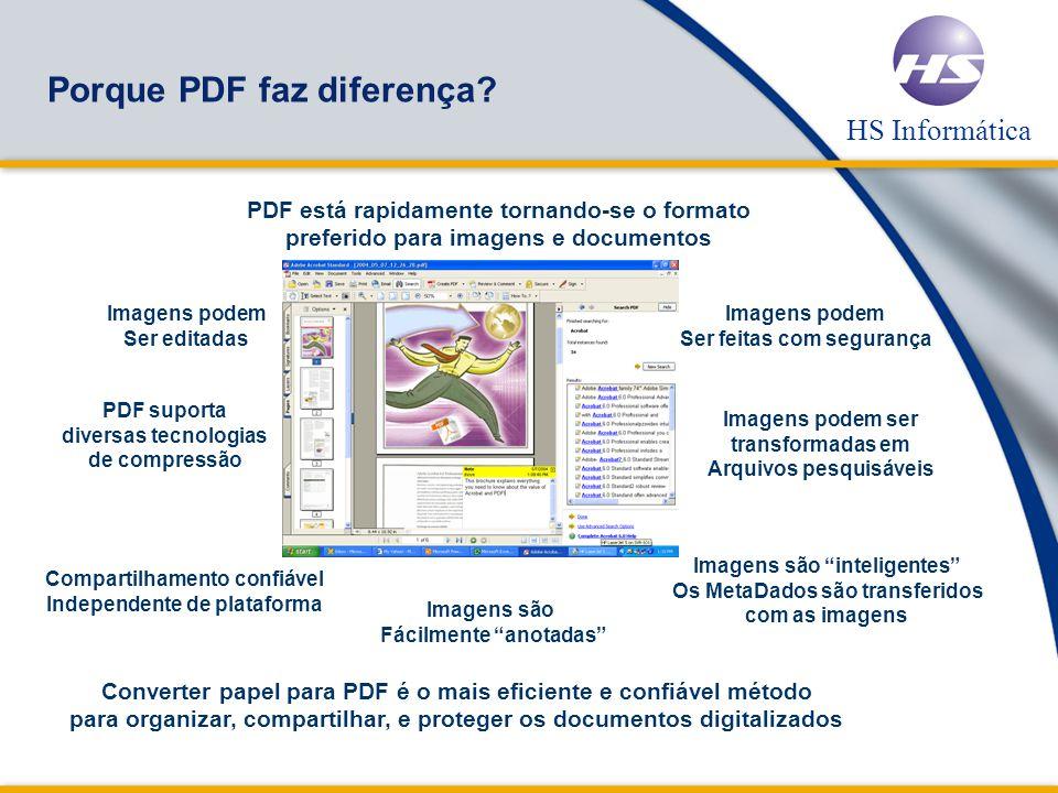 HS Informática Um único Botão Scan to PDF Automaticamente digitaliza arquivos para o formato Acrobat PDF