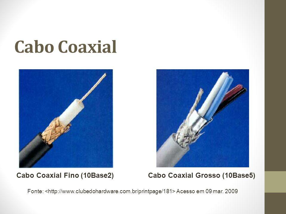 Cabo Coaxial Cabo Coaxial Fino (10Base2) Fonte: Acesso em 09 mar. 2009 Cabo Coaxial Grosso (10Base5)
